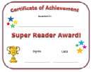 Super Reader Award Certificate Template