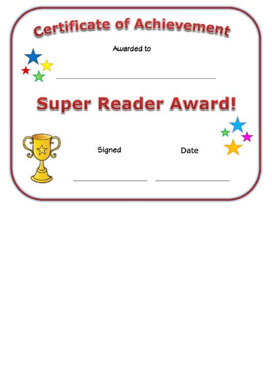 Super Reader Award Certificate Template Printable pdf