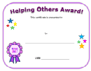 Helping Others Award Certificate Template