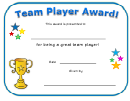 Team Player Award Certificate Template