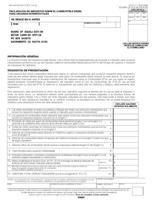 Fillable Form Boe-501-Di-S - Declaracion De Impuestos Sobre El Combustible Diesel Para Usuarios Interestatales Printable pdf
