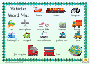 Vehicles Word Mat