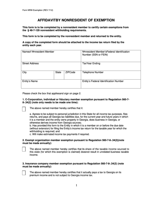 Top 25 Georgia Tax Exempt Form Templates free to download in PDF format