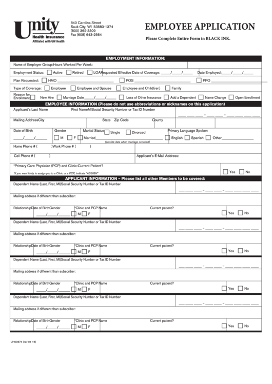 Form Uh00674 - Employee Application