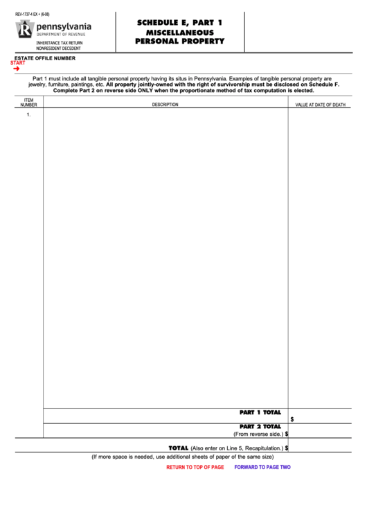 Fillable Form Rev-1737-4 Ex + - Schedule E, Part 1 Miscellaneous Personal Property Printable pdf