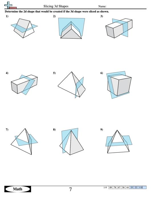 slicing 3d shapes geometry worksheet with answers printable pdf download. Black Bedroom Furniture Sets. Home Design Ideas