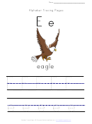 Alphabet Tracing Worksheet - Letter E With Picture Of Eagle