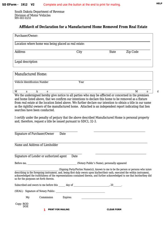 Fillable Form Mv-003 - Affidavit Of Declaration For A Manufactured Home Removed From Real Estate Printable pdf