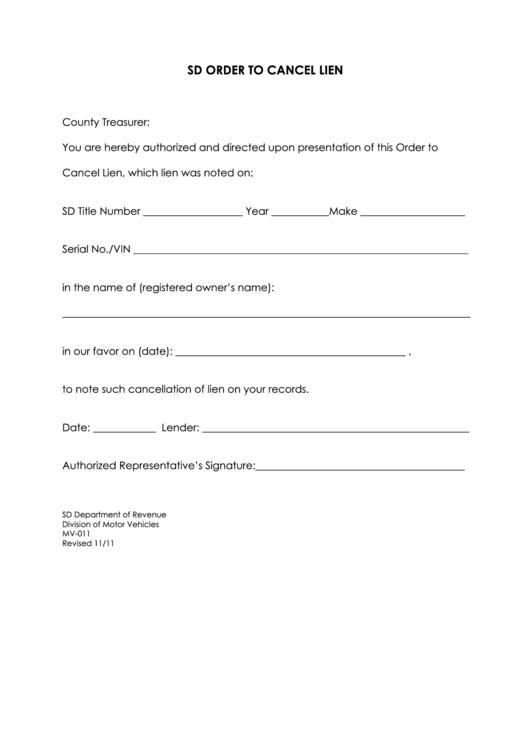 Form Mv-011 - Sd Order To Cancel Lien Printable pdf