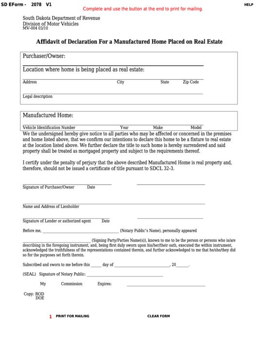 Fillable Form Mv-004 - Affidavit Of Declaration For A Manufactured Home Placed On Real Estate Printable pdf