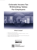 Form Dr 1098 - Colorado Income Tax Withholding Tables For Employers