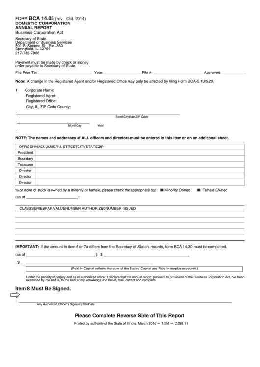 Form Bca 14.05 - Domestic Corporation Annual Report - Illinois Secretary Of State