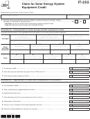 Form It-255 - Claim For Solar Energy System Equipment Credit - 2013