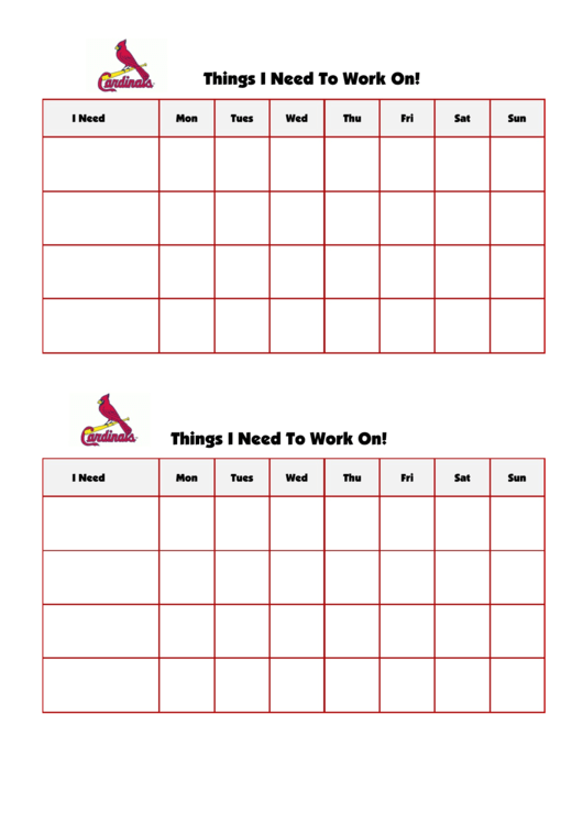 Things I Need To Work On Chart - Saint Louis Cardinals Double
