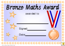 Bronze Maths Award Certificate Template