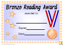 Bronze Reading Award Certificate Template
