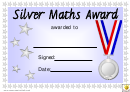 Silver Maths Award Certificate Template