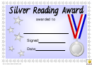 Silver Reading Award Certificate Template
