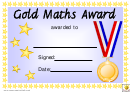 Gold Maths Award Certificate Template