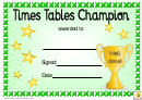 Times Tables Champion Award Certificate Template