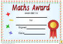 Maths Award 3 Certificate Template