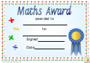Maths Award 2 Certificate Template
