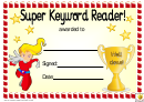 Super Keyword Reader 2 Award Certificate Template