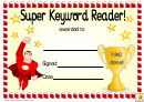 Super Keyword Reader 1 Award Certificate Template