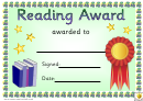 Reading Award 4 Certificate Template