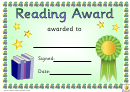 Reading Award 3 Certificate Template