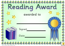 Reading Award 2 Certificate Template