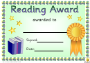 Reading Award 1 Certificate Template