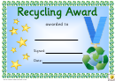 Recycling Award Certificate Template