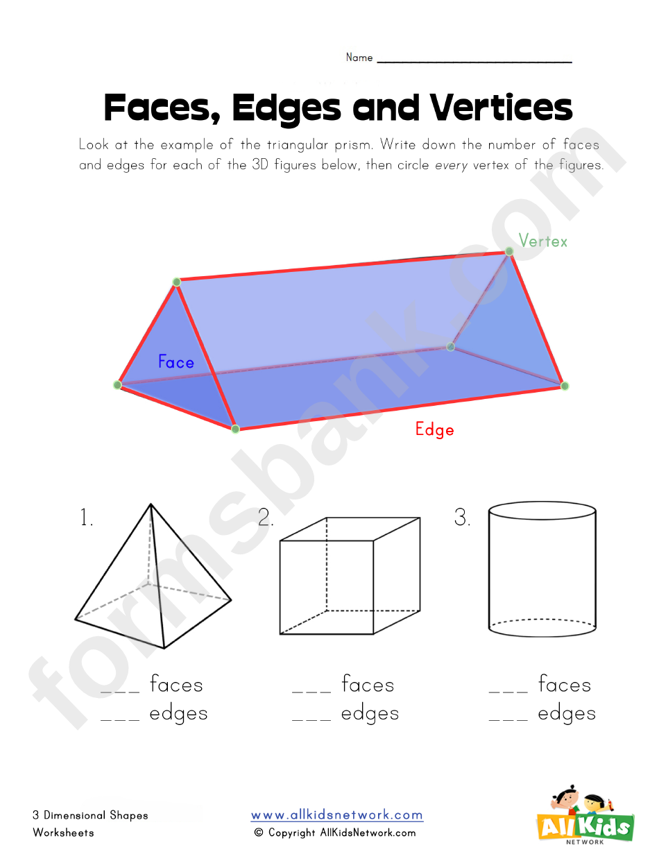 Faces Edges And Vertices Worksheet Printable Pdf Download