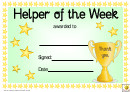 Helper Of The Week Award Certificate Template