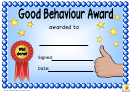 Good Behaviour Award Certificate Template