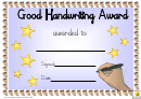 Good Handwriting Award Certificate Template