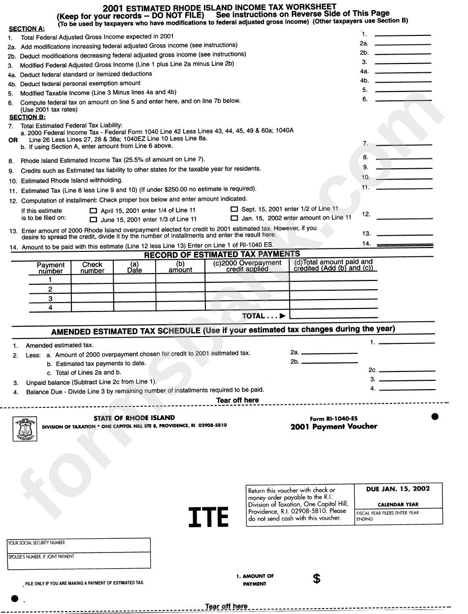 Form Ri 1040 Es Payment Voucher 2001 Printable Pdf Download