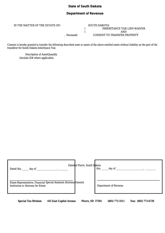 South Dakota Inheritance Tax Lien Waiver And Consent To Transfer Property Printable pdf