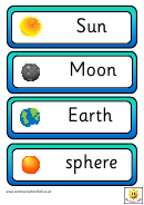 Vocabulary Flash Cards Template - Earth, Sun And Moon