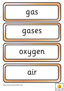 Vocabulary Flash Cards Template - Gases Around Us