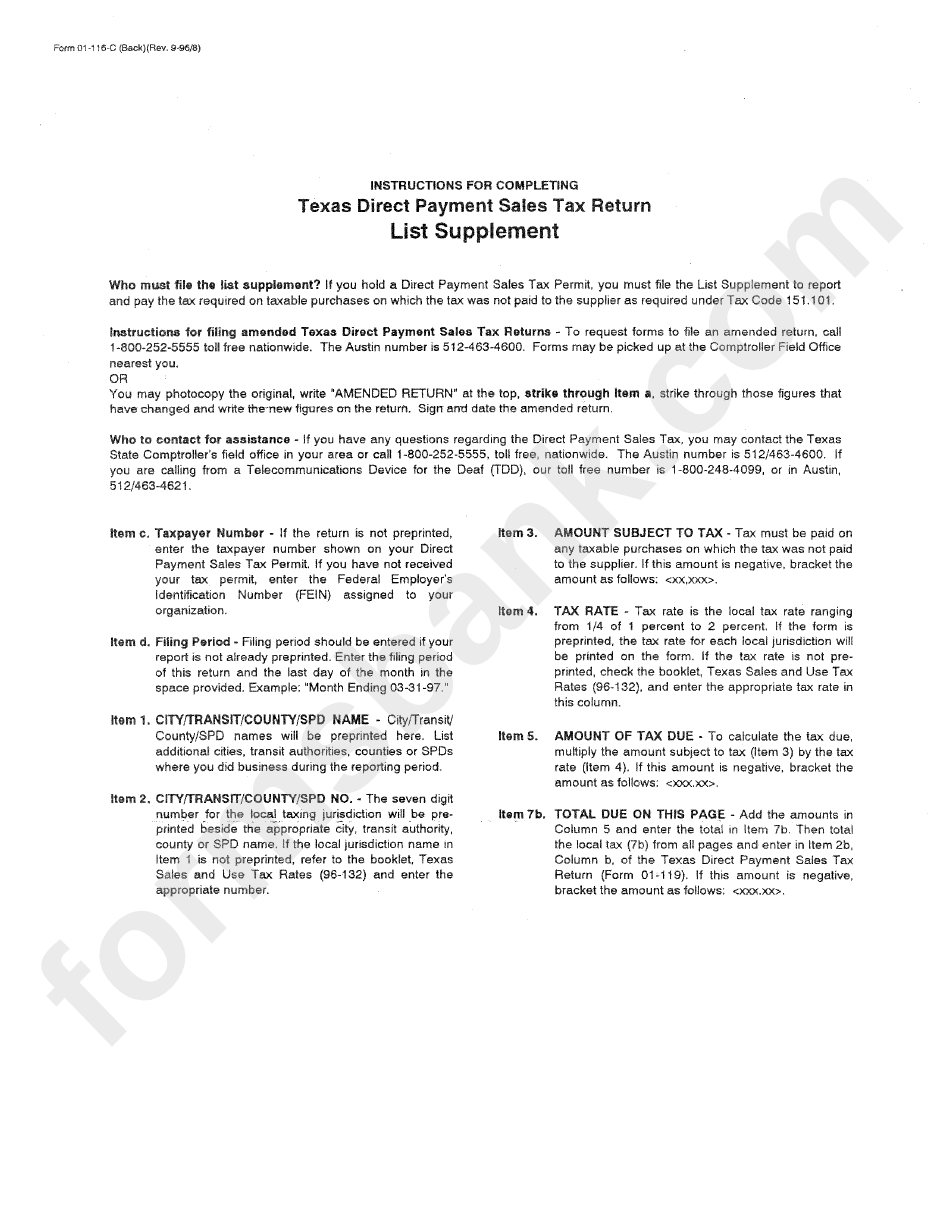Instructions For Completing Texas Direct Payment Sales Tax