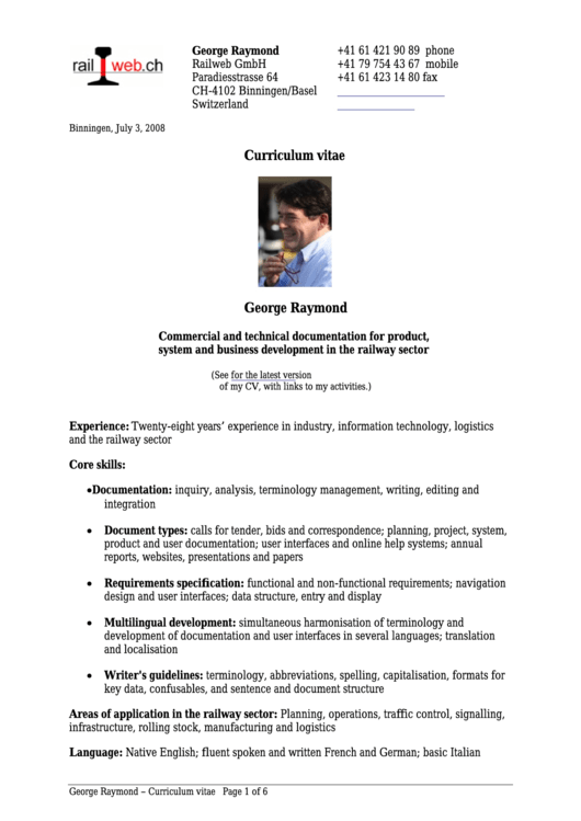 Commercial And Technical Documentation For Product, System And Business Development In The Railway Sector Resume Template Printable pdf