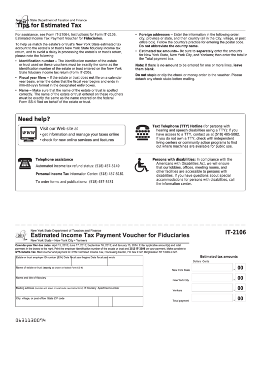 Fillable Form It-2106 - Estimated Income Tax Payment Voucher For Fiduciaries - 2013 Printable pdf