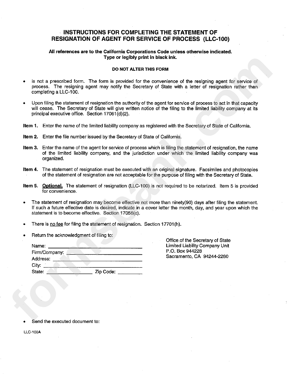 instructions for completing the statement of resignation of agent