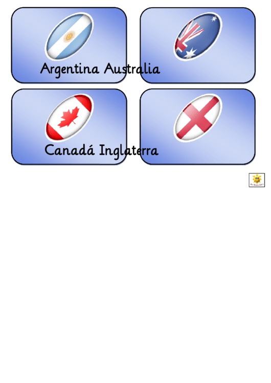 Rugby World Cup Teams Flash Card Template In Spanish - 2011