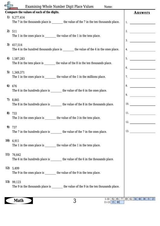 Examining Whole Number Digit Place Values Math Worksheet