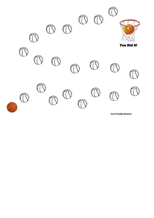 Basketball Into Basket Behavior Chart Printable pdf