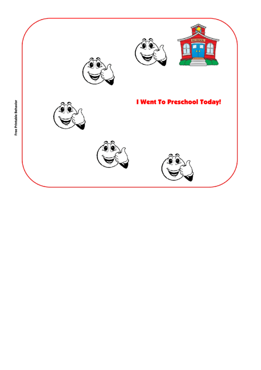 I Went To Preschool Today Behavior Chart Printable pdf