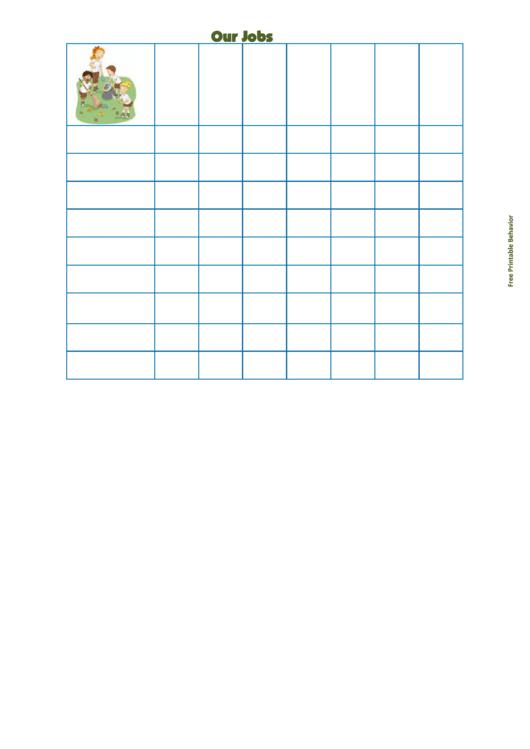 Fillable Our Jobs Behavior Chart Printable pdf